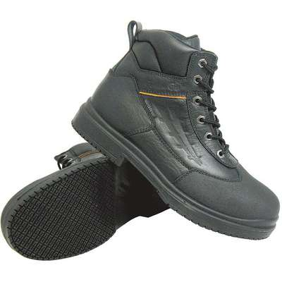 "6""H Unisex Work Boots, Steel Toe Type, Leather Upper Material, Black, Size 6-1/2W"