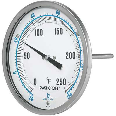 Dial Thermometer, BiMetallic, Glass Window