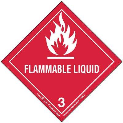 "Flammable Liquid Label, Flammable Liquid, Polypropylene, Red/White, 3-15/16"" Height"