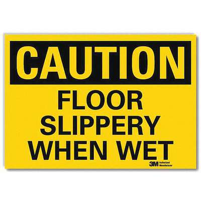 Vinyl Slippery When Wet Sign with Caution Header, 5 in. H x 7 in. W