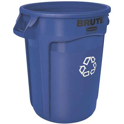 32 gal. Round Recycling Can, Plastic, Blue