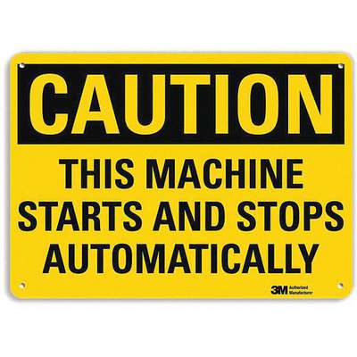 Recycled Aluminum Equipment Automatic Start Sign with Caution Header, 10 in. H x 14 in. W
