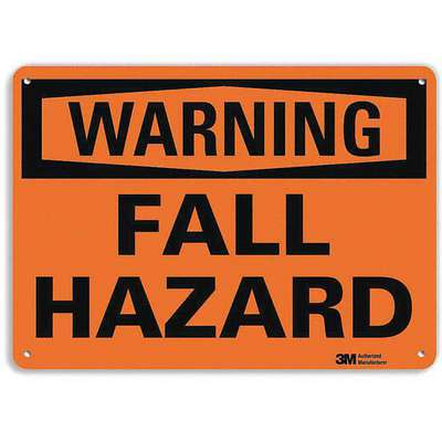 Recycled Aluminum Fall Hazard Sign with Warning Header, 10 in. H x 14 in. W