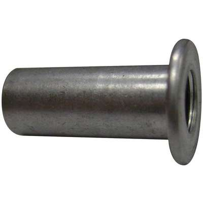 "Steel Flanged Rivet Nut 0.531"" L, #10-24 Dia./Thread Size, 100 PK"