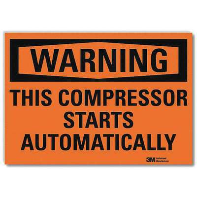 Vinyl Equipment Automatic Start Sign with Warning Header, 7 in. H x 10 in. W
