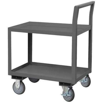 Steel Raised Handle Utility Cart, 1200 lb. Load Capacity, Number of Shelves: 2