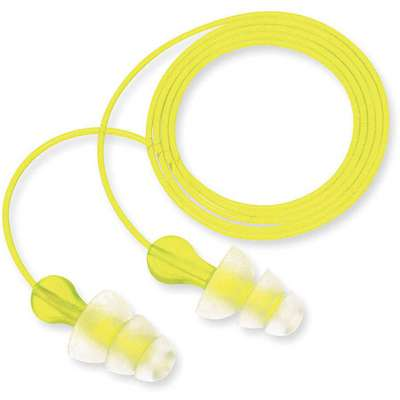 Flanged Ear Plugs, 26dB Noise Reduction Rating NRR, Corded, M, Yellow, PK 100