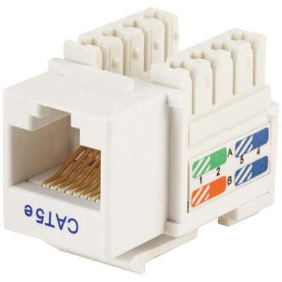 Keystone Jack, White, Plastic, Series: Standard, Cable Type: Category 5e