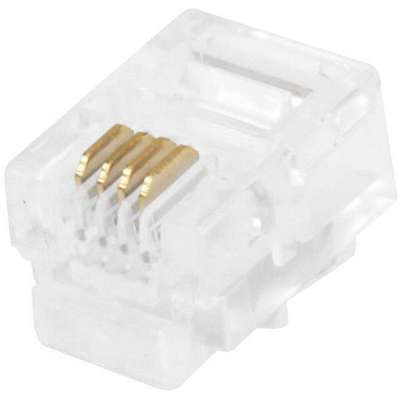 Clear Modular Plug, Number of Contacts: 4, Number of Positions: 6