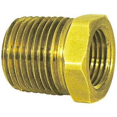"Brass Pipe Thread Bushing, MNPT x FNPT, 3/8"" x 1/8"" Pipe Size, 10 PK"