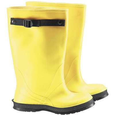 "17""H Men's Overboots, Plain Toe Type, PVC/Flex-O-Thane Upper Material, Yellow, Fits Shoe Size 15"