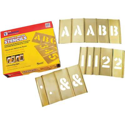 "Stencil Kit, A-Z, 0-9, $, & and Punctuation, 2"", Brass, 1 EA"