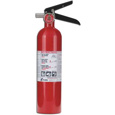 2-1/2 lb., ABC Class, Dry Chemical Fire Extinguisher; 15 ft. Range Max., 8 to 12 sec. Discharge Time