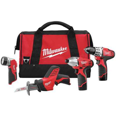 M12 Cordless Combination Kit, 12.0 Voltage, Number of Tools 4
