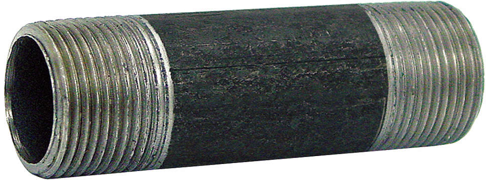 Black Pipe Nipple,Threaded,2x6