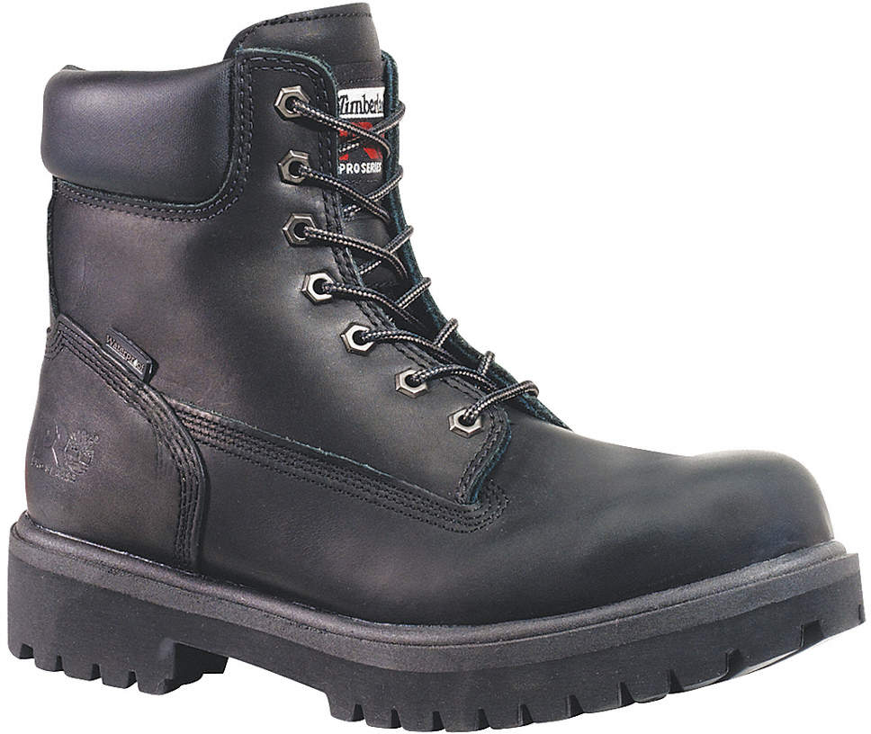 Work Boots,Pln,Mens,9M,6In,Blk,