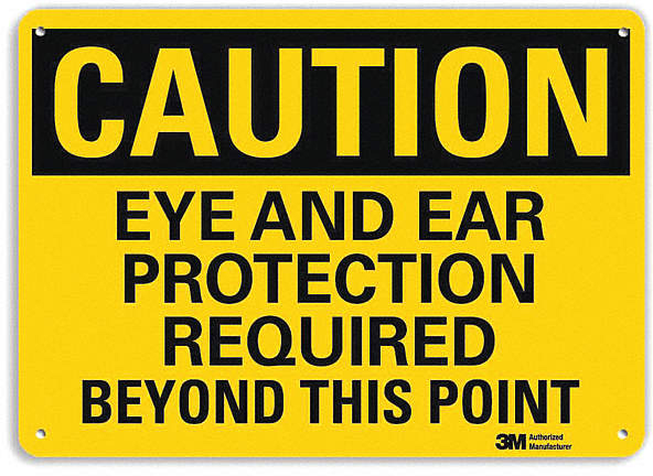 Safety Sign,Eye Ear Rqrd Point,