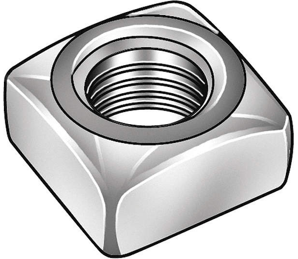 Square Nut,7/16-14,3/4 W,Low
