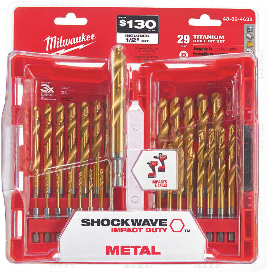 Drill Bit Set,Titanium,1/4 In.