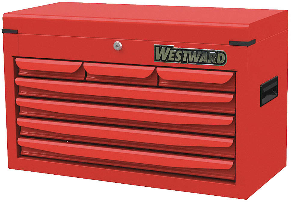 Top Chest,7 Drawers,Red,16 In.