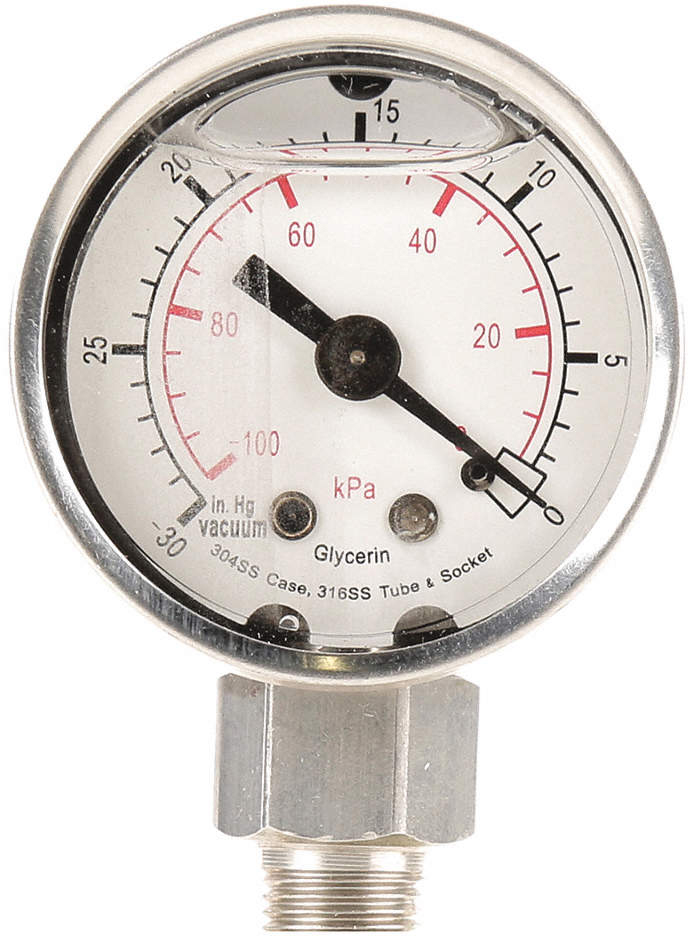 Pressure Gauge,Filled,2 1/2 In,