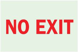 No Exit Sign,7 x 10In,R/Wht,No