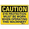 Vinyl Eye Protection Sign with Caution Header, 5 in. H x 7 in. W