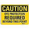 Recycled Aluminum Eye Protection Sign with Caution Header, 10 in. H x 14 in. W