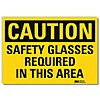 Vinyl Eye Protection Sign with Caution Header, 10 in. H x 14 in. W