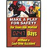 Electronic Safety Scoreboard,  Plastic Sign/Aluminum Frame,  20 in Width,  28 in Height