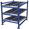Starter Gravity Flow Rack with Rubber Wheelbed Decking and 3 Shelves, 60