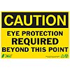 Recycled Polyester Eye Protection Sign with Caution Header, 7 in. H x 10 in. W