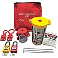 Portable Lockout Kit, Filled, Electrical Lockout, Pouch, Red