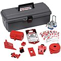 Portable Lockout Kit, Filled, Electrical/Valve Lockout, Tool Box, Gray