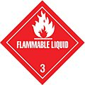 Flammable Liquid, Class 3 Paper, Adhesive Back Shipping Labels