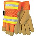 Pigskin Leather Work Gloves, Safety Cuff, Gold, HiVis Orange and Yellow, Size: M, Left and Right Han