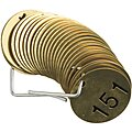 Numbered Tag Set, Brass, Round, Height: 1-1/2