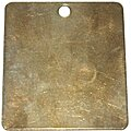 Blank Metal Tag, Brass, Square, Height: 1
