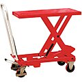 Mobile Manual Lift, Manual Push Scissor Lift Table, 550 lb. Load Capacity, Lifting Height Max. 36