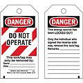 Danger Tag, Cardstock, Do Not Operate This Lock/Tag May Only Be Removed By, 5-3/4