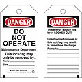 Danger Tag, Polyester, Do Not Operate Maintenance Department This Lock/Tag May Only Be Removed By