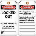 Danger Tag, Cardstock, Locked Out Do Not Operate This Lock/Tag May Only Be Removed By, 5-3/4