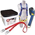 Blue Roofer Fall Protection Kit, 420 lb. Weight Capacity, Pass-Thru Leg Strap Buckles