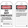 Lockout Tag, Cardstock, DO NOT ENERGIZE This Lock/Tag May Only be Removed By:  ETC, 3