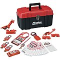 Portable Lockout Kit, Filled, Electrical Lockout, Tool Box, Red