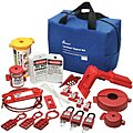 Lockout/Tagout Kit, Filled, Electrical/Valve Lockout, Tool Box, Blue