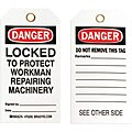 Danger Tag, Polyester, Locked to Protect Workman, 5-3/4