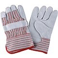 Cowhide Leather Work Gloves, Safety Cuff, Red Striped, Size: 2XL, Left and Right Hand