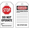 Danger Tag, Polyester, Stop Do Not Operate, 5-3/4