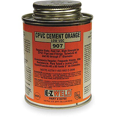 Amber Solvent Cement,Size 8,For Use With PVC,CPVC,ABS,Schedule 40 and 80 Pipes